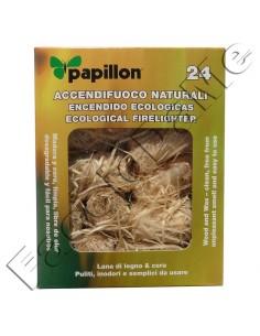 Accendifuoco Naturali Papillon Pulito Inodore Lana di Legno e Cera 24 Pezzi
