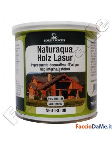Borma Wachs Naturaqua Holz Lasur Impregnante Decorativo All'Acqua Colori Vari