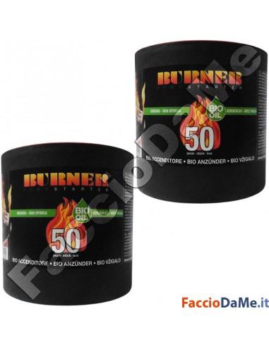 Burner Starter Bio Accenditore Accendifuoco Biologico Inodore 2 Conf. 100 Pezzi