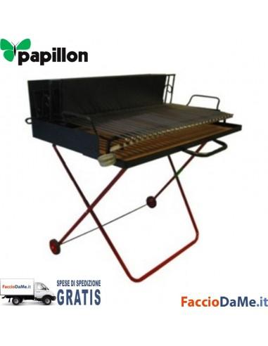 Barbecue a Legna Papillon Maxi Grill con Ruote 100x72xh90 - SPEDIZIONE GRATUITA