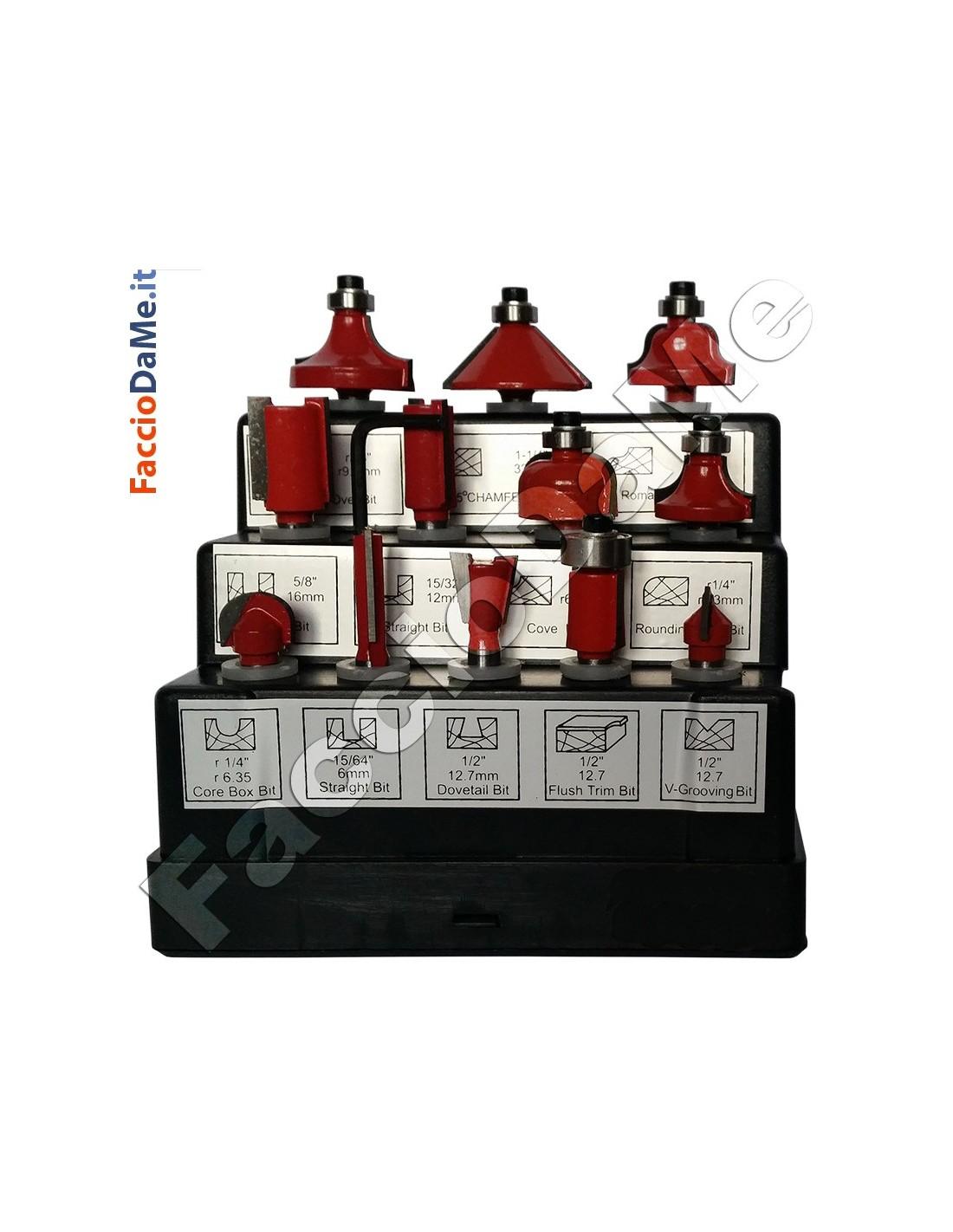 Set Kit Frese da Legno per Fresa Fresatrice Verticale Pantografo 12 pezzi
