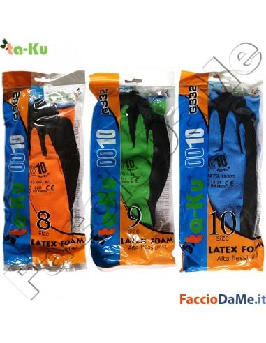 Guanti in Lattice Latex Foam Traspiranti Flessibili Taglia 8-9-10 Ta-Ku G332