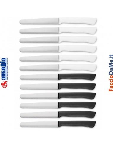Confezione 6 Coltelli da Tavola con Manico in Plastica Bianco Nero 11cm Ausonia