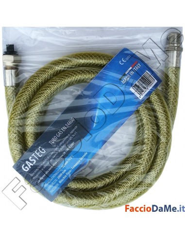 Tubo Metallico per Gas a Norma EN 14800 Maschio-Femmina o Femmina-Femmina 100cm