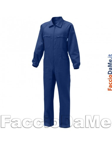 Tuta da Lavoro Labor con Cerniera in Cotone Colore Blu Taglia S-M-L-XL-XXL-XXXL