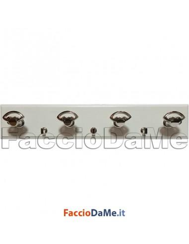 Attaccapanni a Muro in Legno 7 posti con Viti Colore Bianco Made in Italy