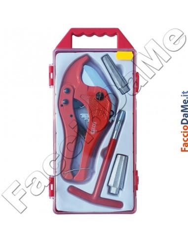 Set Kit Tagliatubi e Sbavatore A T per Tubi Plastica PVC Gomma Max 42mm Hit