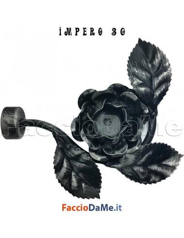 Terminale ROSA in Ferro Nero Argento per Bastone Tende D.30mm IMPERO Italy