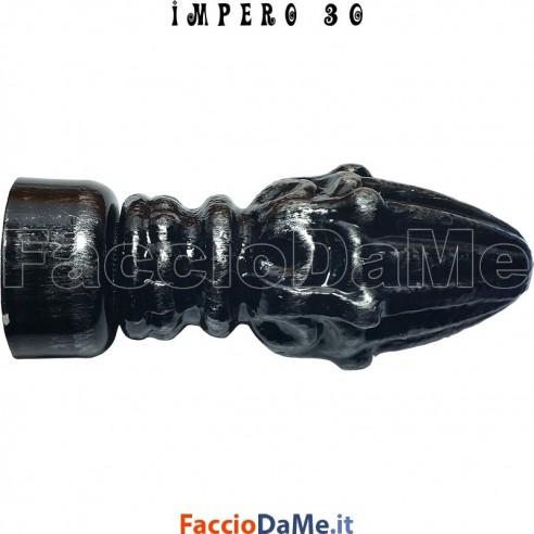 Terminale PIGNA in Ferro Nero Argento per Bastone Tende D.30mm IMPERO Italy