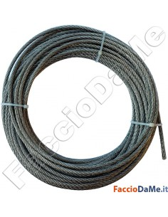 Corda Filo Fune Acciaio Inox 7x7 Fili Diametro 6mm Lunghezza 10-25-50-100-250 mt
