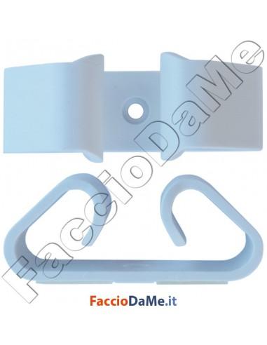 Portascopa Portascope a Pinza con Autoadesivo in ABS Colore Bianco 2 pezzi
