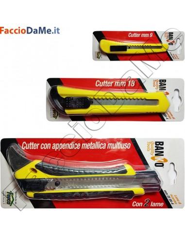 Cutter con Appendice Metallica Multiuso con 2 Lame Ricambio 9 18 25 mm Banko