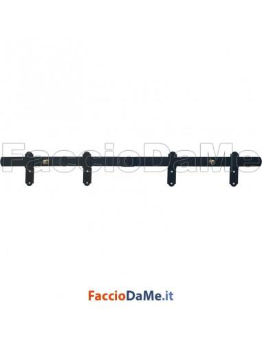 Sbarra Spranga per Porte e Finestre Sfilabile con Sormonto + 4 Incontri Varie Misure