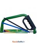 Sega Segoncino Arco Ferro Legno 3 Lame 300mm Impugnatura con Protezione Mani