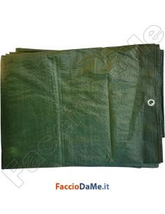 Telo Occhiellato in Polietilene Rinforzato Occhioli in Alluminio 200 gr-mq Verde