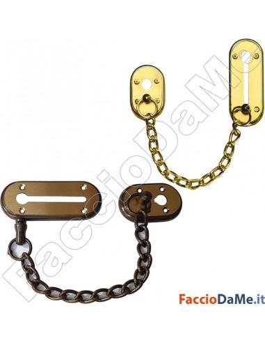 Chiusura di Sicurezza per Porta Porte Con Catena da 20cm in Ottone Bronzo Oro