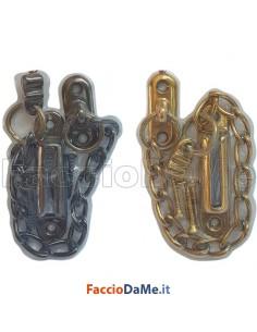 Fermaporta Fermaporte a Catena di Sicurezza in Ottone Finitura Bronzo e Oro