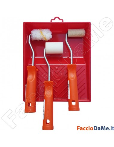Set Kit 3 Rullini Rulli Piccoli 5cm per Pittura Smalti Impregnanti + Vaschetta