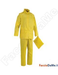 Completo Impermeabile Giacca Pantalone in Poliestere Spalmato Pvc Colore Giallo