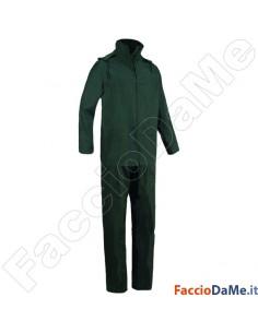 Completo Impermeabile Giacca Pantalone in Poliestere Spalmato Pvc Colore Verde
