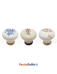 Pomolo Pomolino Porcellana Bianca per Mobili Decoro Fiore Diametro 30mm