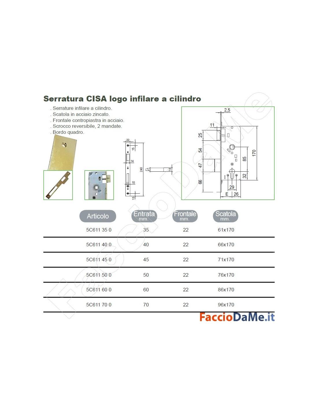 Serratura da infilare per porte interne in legno 2 mandate - Misure controtelaio per porta da 80 ...