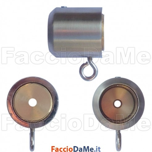 Supporto per Tende a Parete Laterale in Acciaio Inox Satinato Diametro 20mm