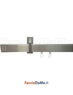 Bastone Binario in Alluminio Rettangolare per Tende con Accessori Fissaggio Parete