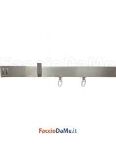 Bastone Binario in Alluminio Rettangolare per Tende con Accessori Varie Misure