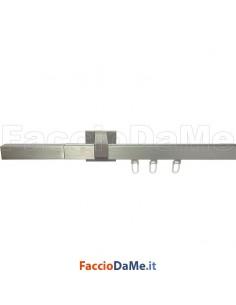 Binario Bastone in Alluminio Satinato Quadro per Tende con Accessori a Parete