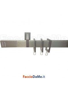 Bastone Binario in Alluminio Satinato Rettangolare per Tende con Accessori Varie Misure
