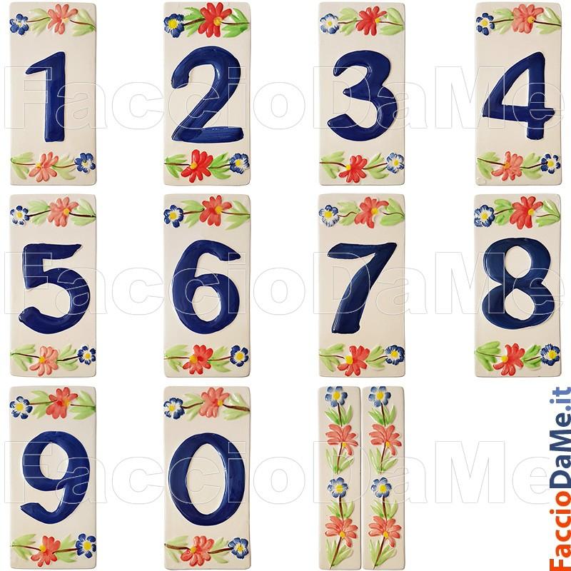 Numeri Civici Ceramica In Gres Ecru Splendente cm11x6h1,5 Certrè IT