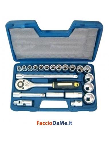 Cassetta Bussola Set Chiavi Professionali 23 Pezzi Cromo Vanadio Axel MT6000