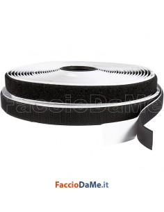 Rotolo Velcro Adesivo Uncino e Asola Strappo Colore Nero 20mm x 25 metri Lunghezza