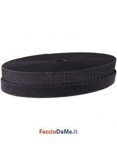 Rotolo Velcro da Cucire Uncino e Asola Strappo Colore Nero 20mm x 25 metri Lunghezza