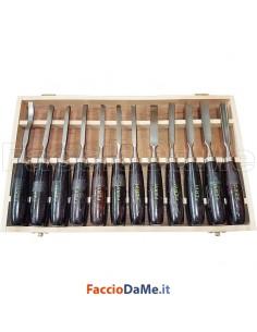 Scorbie per Intagliatore con Scatola in Legno Lunghezza 215mm Confezione 12 pezzi