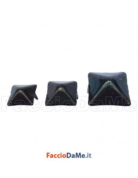 Borchia Borchie Copriviti a 2 Punte 15 20 25 30mm in Ferro A.591 Colore Nero 10 pezzi