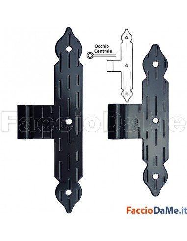 Bandella a T con Occhio Centrale Spina Diametro 10mm in Acciaio Colore Nero Omad 1346-N