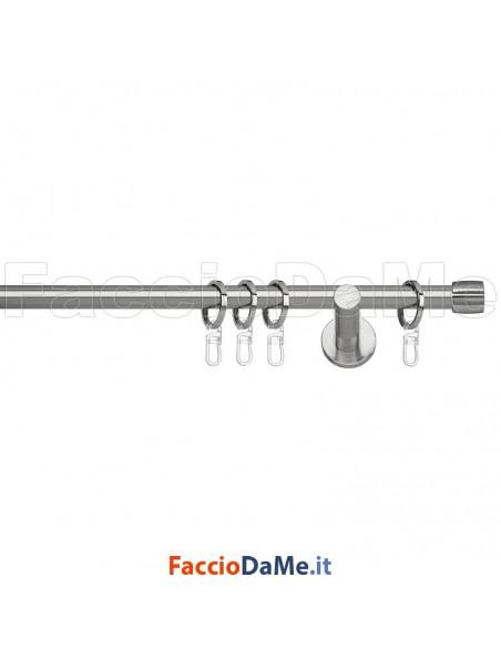 Set Kit Bastone per Tende in Metallo Nickel Satinato con Anelli Ø 20 TAPPO FA20101