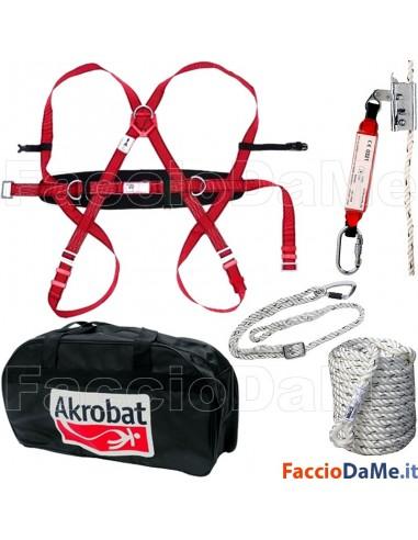 Kit Scale Tetti Imbracatura + Cordino + Fune + Borsa Industrial Starter AKKIT06