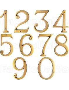 Numeri Civici Numero Civico Stile Romano in Ottome Oro Lucido 120 mm con Fori