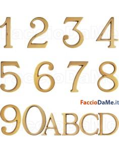 Numero Civico 80mm Lettera Civica 50mm Stile Romano Ottome Oro Lucido con Perni