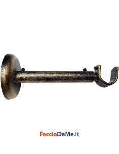 Supporto a Parete Estensibile in Ferro Nero Oro per Bastone Tende D.20 mm Italy