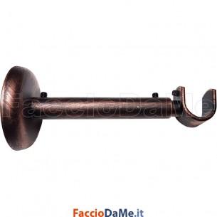 Supporto a Parete Estensibile in Ferro Nero Rame per Bastone Tende D.20 mm Italy