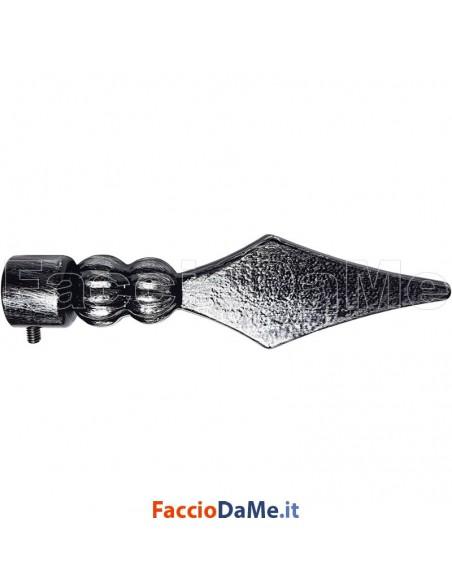 Terminale LANCIA in Ferro Nero Argento per Bastone Tende D.20 mm Made in Italy