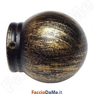 Terminale PALLA in Ferro Nero Oro per Bastone Tende D.20 mm Made in Italy