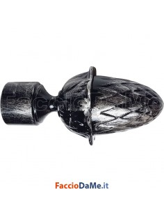 Terminale PIGNA in Ferro Nero Argento per Bastone Tende D.20 mm Made in Italy