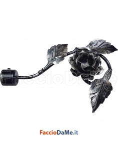 Terminale ROSA in Ferro Nero Argento per Bastone Tende D.20 mm Made in Italy