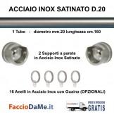 Bastone per Tende D.20 L.160 Completo in Acciaio Inox Satinato da Muro a Muro - SPEDIZIONE GRATUITA