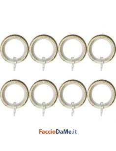 Anelli per Tende in Ferro con Guaina Antigraffio Colore Bianco-Oro Confezione da 8 pezzi